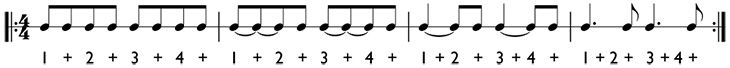 How to count dotted quarter notes in 4/4 time