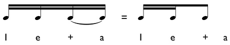 Example of two sixteenth notes and an eighth note