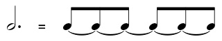 A dotted half note equals 6 beats when the eighth note is one beat.