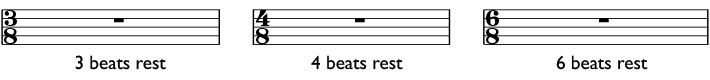 Whole rests in 3/8, 4/8, and 6/8