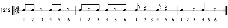 Practice patterns with the eighth note equal to one beat