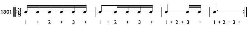 Subdivided eighth note beat patterns