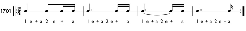 Double dotted note examples and practie patterns
