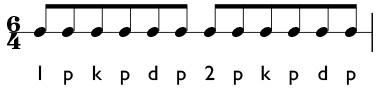 6/4 time in compound meter with the dotted half note equal to one beat