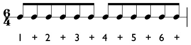 6/4 time signature in simple meter with the quarter note equal to one beat