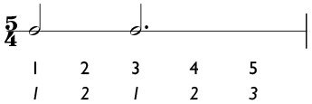 5/4 time signature with a 2 + 3 subdivision of the measure